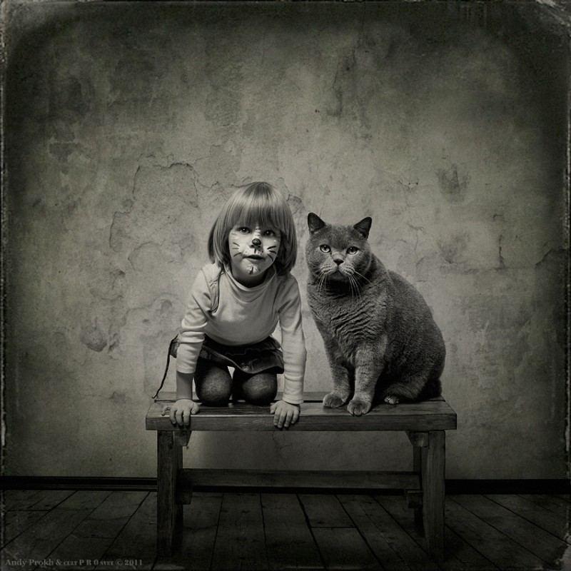 Маленькая девочка и кот Том