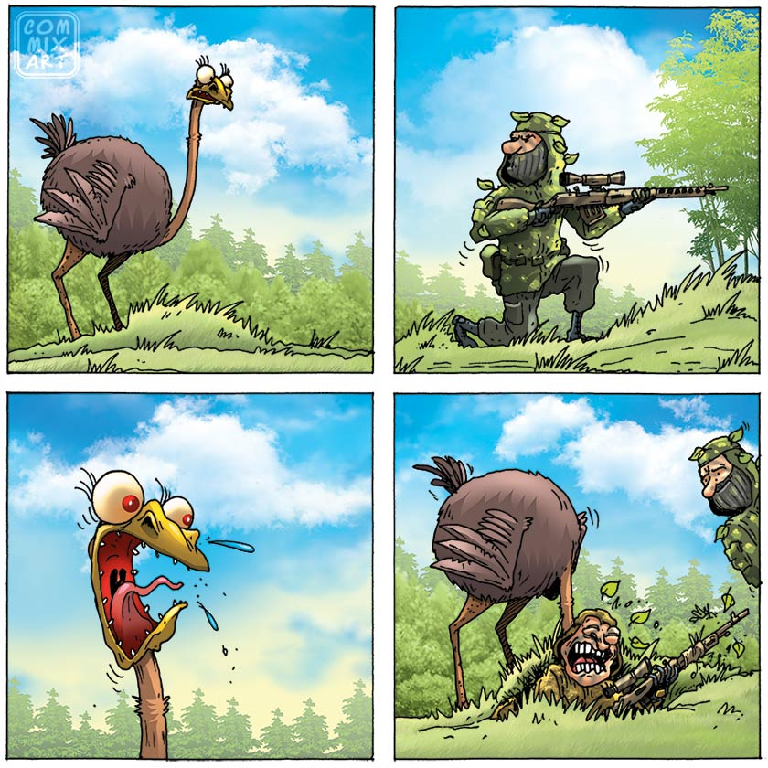 Прикольные комиксы про страуса