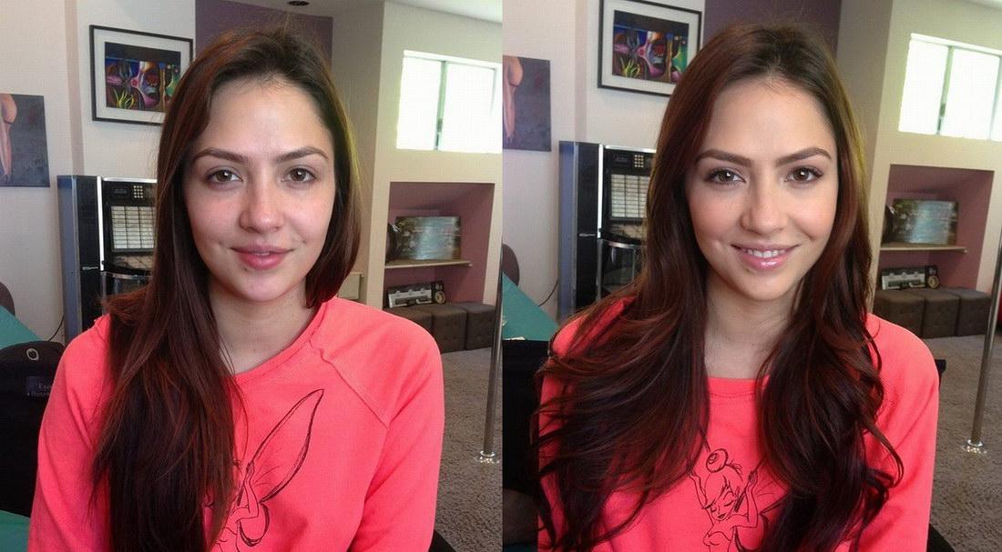Девушки До и после макияжа
